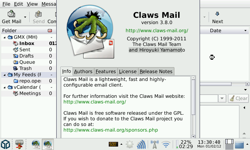 20120105 claws mail v3.8.0.2 (pandora application port) Claws Mail v3.11.0.2 (Pandora Application Port)